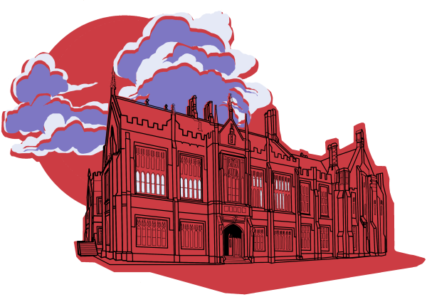 Dramatically rendered line art of a neo-gothic university building against a cloudy full moon, in purple and red