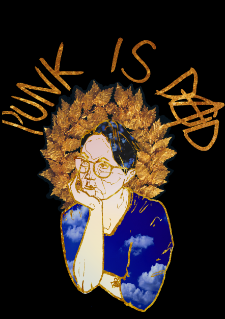 Digitally edited ink sketch of Charles O'Grady, a white trans poet and playwright, with a cloud shirt, flowers in his hair, and a gold wreath, surrounded by the text PUNK IS DAD