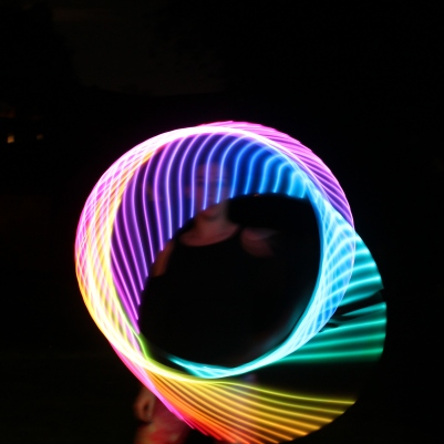 Long exposure on rainbow LED hoop 2