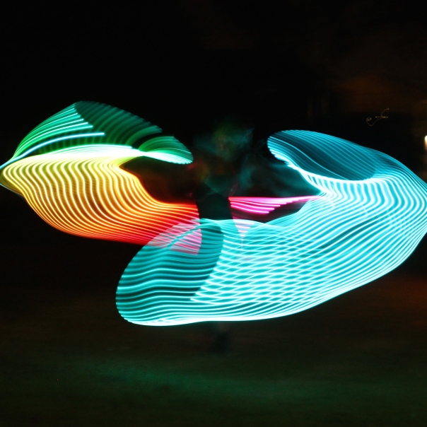 Long exposure on rainbow LED hoop